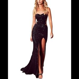 Strapless Sequined Sparkle Maxi Dress